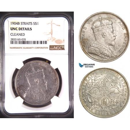 AD779, Straits Settlements, Edward VII, Dollar 1904-B, Bombay, Silver, NGC UNC Det.