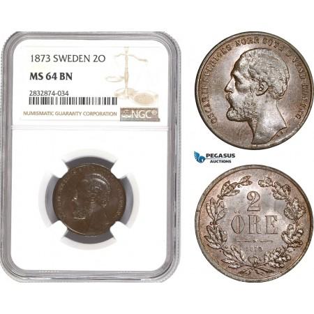 AD780, Sweden, Oscar II, 2 Öre 1873, Stockholm, NGC MS64BN
