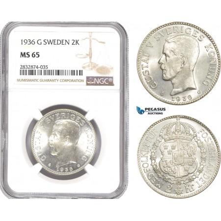 AD781, Sweden, Gustaf V, 2 Kronor 1936-G, Stockholm, Silver, NGC MS65, Pop 1/0