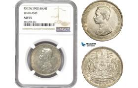 AD782-R, Thailand, Rama V, 1 Baht RS124 (1905) Silver, NGC AU55