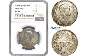 AD783-R, Thailand, Rama VI, 1 Baht BE2459 (1916) Silver, NGC MS61
