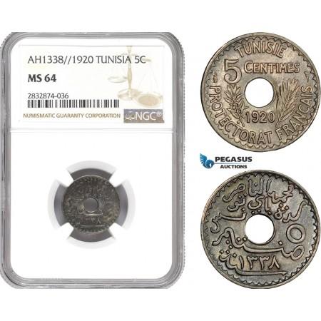 AD784, Tunisia, Muhammad al-Nasir, 5 Centimes AH1338 / 1920, NGC MS64, Pop 1/0