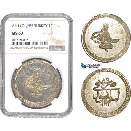 AD785, Ottoman Empire, Turkey, Mustafa III, Piastre AH1171/85, Islambul, NGC MS63, Pop 1/0