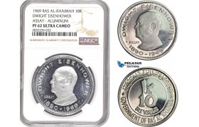 "AD786-R, United Arab Emirates, Ras Al-Khaimah, ASSAY 10 Riyals 1969, Aluminum, ""Dwight Eisenhower"" NGC PF62UC, Pop 1/0, Rare!"