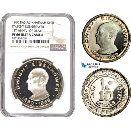 "AD787-R, United Arab Emirates, Ras Al-Khaimah, 10 Riyals 1970, Silver, ""Dwight Eisenhower"" NGC PF66UC"