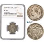 AD789, Venezuela, 1 Bolivar 1879, Brussels, Silver, NGC VF30