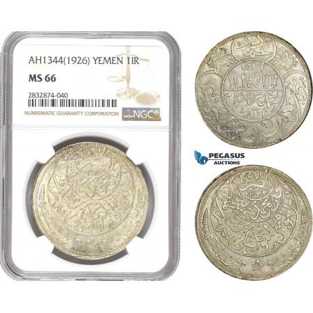 AD790, Yemen, Imam Yahya, Imadi Riyal AH1344 (1926) Silver, NGC MS66