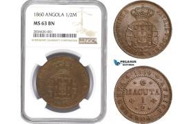 AD791, Angola (Portuguese) Pedro V, 1/2 Macuta 1860, NGC MS63BN