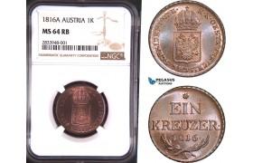AD792, Austria, Franz II, 1 Kreuzer 1816-A, Vienna, NGC MS64RB