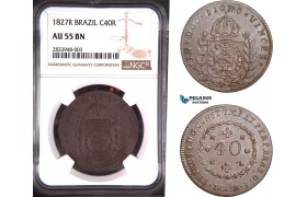 AD793, Brazil, Pedro I, 40 Reis 1827-R, Rio de Janeiro, NGC AU55BN