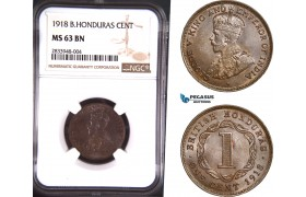 AD794, British Honduras, George V, 1 Cent 1918, NGC MS63BN