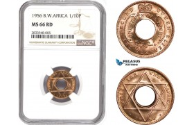 AD795, British West Africa, Elisabeth II, 1/10 Penny 1956, NGC MS66RD
