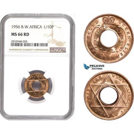 AD795, British West Africa, Elisabeth II, 1/10 Penny 1956, NGC MS66RD