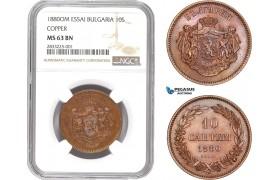 AD796, Bulgaria, Alexander I, ESSAI 10 Santim 1880-OM, Paris, NGC MS63BN