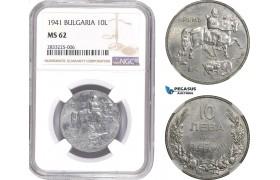 AD798, Bulgaria, Boris III, 10 Leva 1941, NGC MS62, Pop 1/0, Extremely Rare!