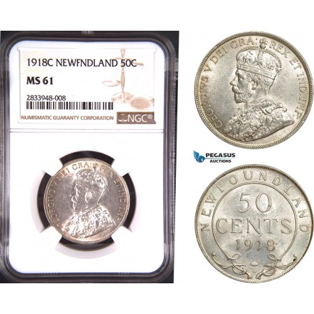 AD800, Canada, Newfoundland, George V, 50 Cents 1918-C, Silver, NGC MS61