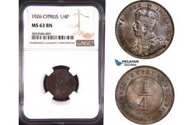 AD801, Cyprus, George V, 1/4 Piastre 1926, London, NGC MS63BN