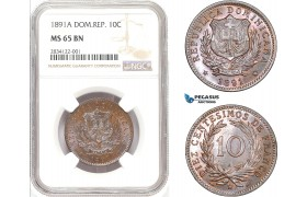 AD802, Dominican Republic, 10 Centesimos 1891-A, Paris, NGC MS65BN