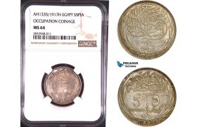AD803, Egypt, Occupation Coinage, 5 Piastres AH1335 / 1917-H, Heaton, Silver, NGC MS64