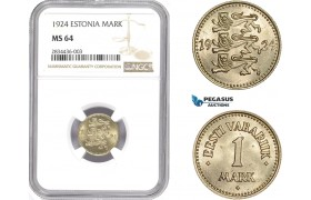 AD804, Estonia, 1 Mark 1924, NGC MS64