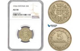 AD808, Estonia, 5 Marka 1926, NGC AU58