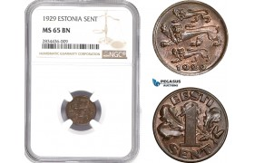 AD810, Estonia, 1 Sent 1929, NGC MS65BN