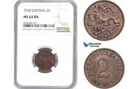 AD812, Estonia, 2 Senti 1934, NGC MS64BN