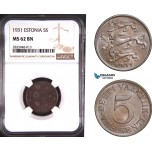 AD814, Estonia, 5 Senti 1931, NGC MS62BN
