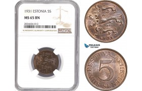 AD815, Estonia, 5 Senti 1931, NGC MS65BN