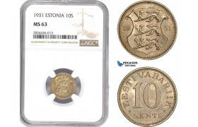 AD816, Estonia, 10 Senti 1931, NGC MS63