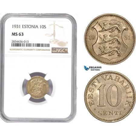 AD816, Estonia, 10 Senti 1931, NGC MS63