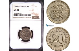 AD817, Estonia, 20 Senti 1935, NGC MS62