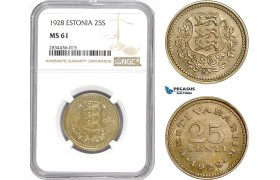 AD819, Estonia, 25 Senti 1928, NGC MS61