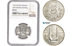 AD820, Estonia, 1 Kroon 1933, Silver, NGC MS64