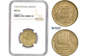 AD821, Estonia, 1 Kroon 1934, NGC MS64