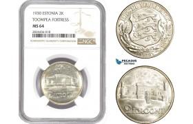 AD822, Estonia, 2 Krooni 1930, Silver, NGC MS64