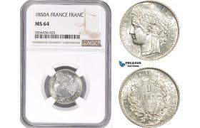AD836, France, Second Republic, 1 Franc 1850-A, Paris, Silver, F.211/5, NGC MS64, Rare Variety!
