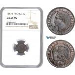 AD839, France, Napoleon III, 1 Centime 1857-K, Bordeaux, NGC MS64BN, Pop 1/0