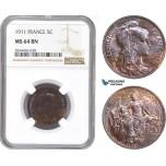 AD850, France, Third Republic, 5 Centimes 1911, NGC MS64BN