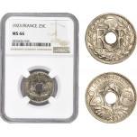 AD859, France, Third Republic, 25 Centimes 1923, Paris, NGC MS66, Pop 1/0