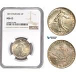 AD861, France, Third Republic, 2 Francs 1919, Paris, Silver, NGC MS63