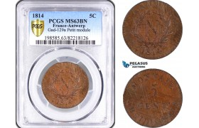 AD863, French Occupation of Antwerp (Belgium) 5 Centimes 1814, Gad-129a, Small Module, PCGS MS63BN