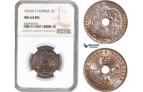 AD864, French Indo-China, 1 Centime 1912-A, Paris, NGC MS64BN