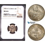 AD865, French Indo-China, 10 Centimes 1901-A, Paris, Silver, NGC MS64+