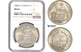 AD866, French Indo-China, Piastre 1886-A, Paris, Silver, NGC MS63