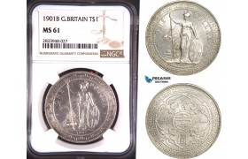 AD869, Great Britain, Trade Dollar 1901-Bombay, Silver, NGC MS61