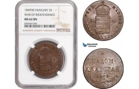 AD870, Hungary, War of Independence, 3 Krajczar 1849-NB, Nagybanya, NGC MS62BN