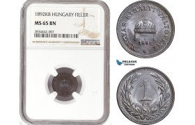 AD871, Hungary, Franz Joseph, 1 Filler 1892-KB, Kremnitz, NGC MS65BN, Pop 1/0, Rare!