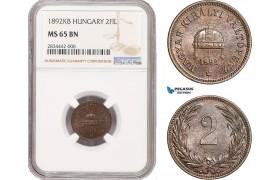 AD872, Hungary, Franz Joseph, 2 Filler 1892-KB, Kremnitz, NGC MS65BN, Pop 1/0, Rare!