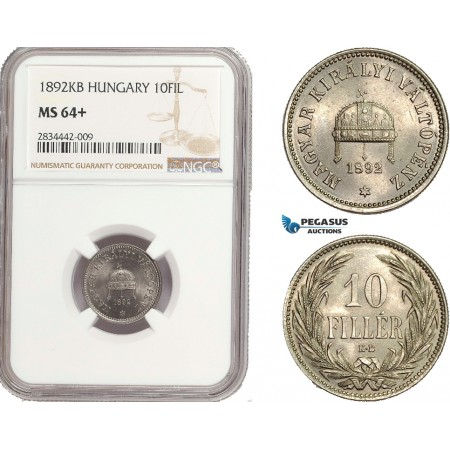 AD873, Hungary, Franz Joseph, 10 Filler 1892-KB, Kremnitz, NGC MS64+, Rare!